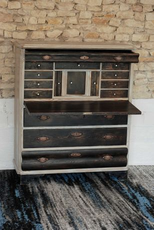 Sekretera komoda drewniana oryginalny antyk vintage loft retro zamiana