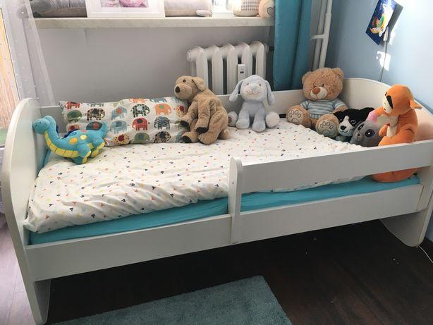 Łóżko dziecięce Happy 70x140 140x70 biale z materacem i barierka