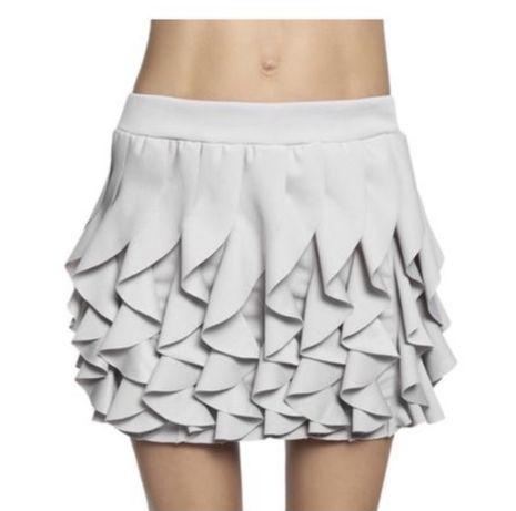Mini spódniczka szara falbanki lato wiosna dopasowana oversize