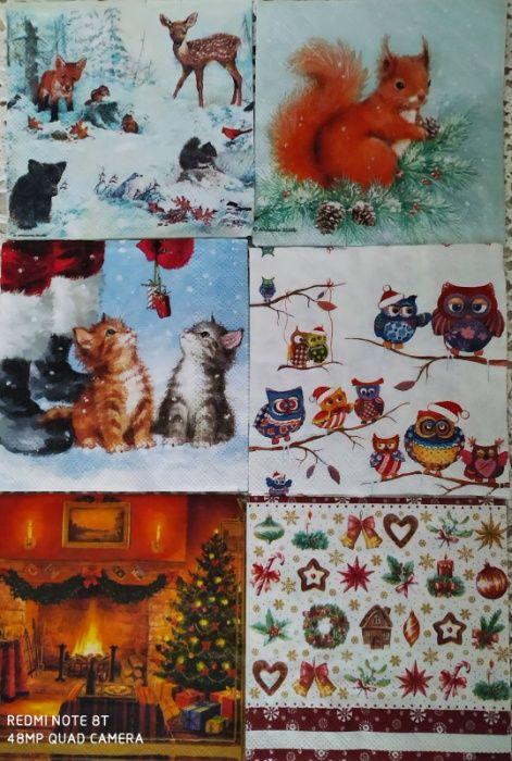 Салфетки декупаж новогодние снеговики ангелы орнамент коты фонарик Ирпень - изображение 1