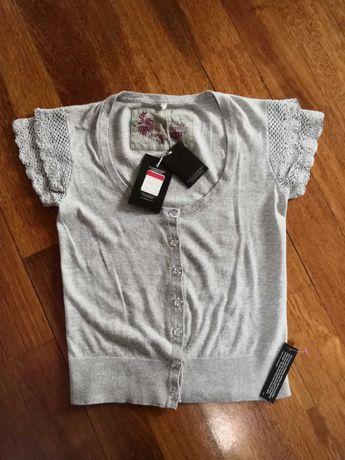 Nowa szara bluzka rozpinana z falbankami M L ażurowe rękawy