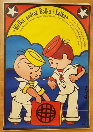 Wielka podróż Bolka i Lolka, Jakub Erol 1977 stan dobry plakat filmowy