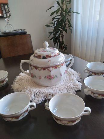 terrina de louça Limoges com 6 tigelas de sopa