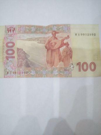 Продам 1 00 гривен 2011года с интересным  номером