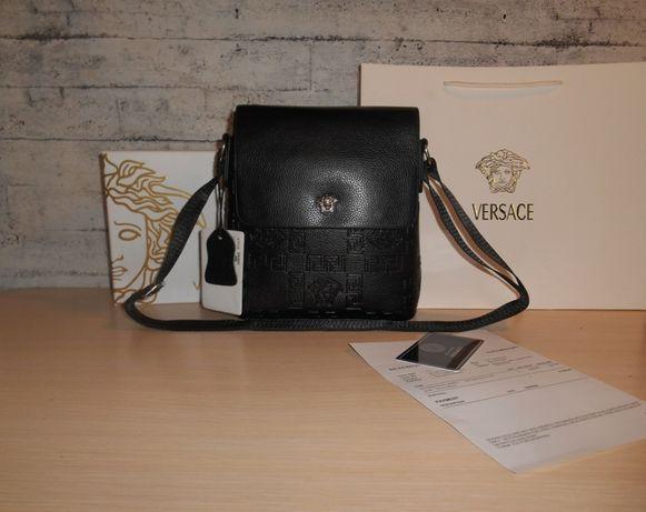 Skorzana czarny męska torba Listonoszka Versace, skóra, Włochy 8801