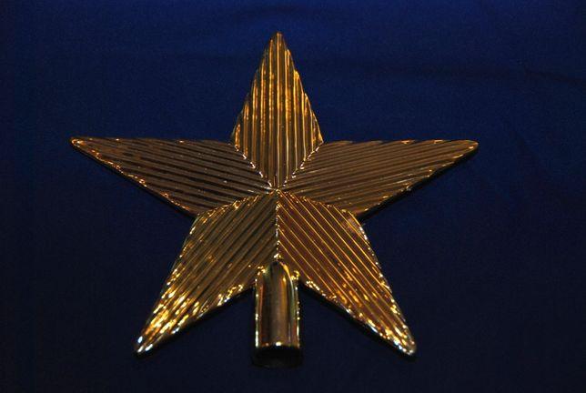 Stary niemiecki czubek szpic choinkowy bożonarodzeniowy złotya 20cm