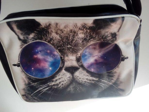 HIT!Duża torba na ramię A4 kot w okularach ,fajna!unikat