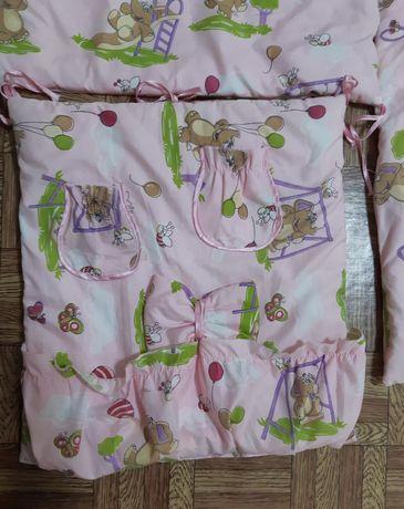Защита в детскую кроватку и одеяло, бортики