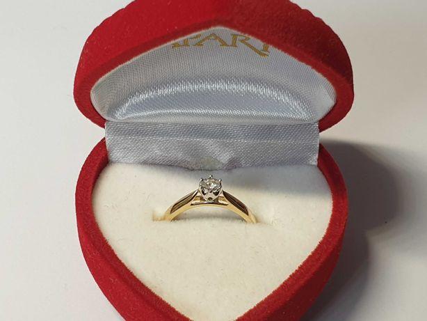 złoty pierścionek zaręczynowy P585  złoto Lombard