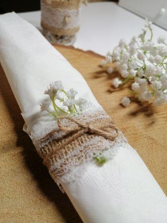 Obrączka na serwetki z juty i koronki, pierścień, ozdoba sali ślub