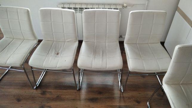 Krzesła białe ekoskóra  salon/pokój