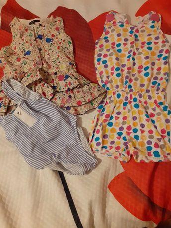 Zestaw 3 letnich ubranek 92-98 kombinezon,sukienka,kostium kąpielowy