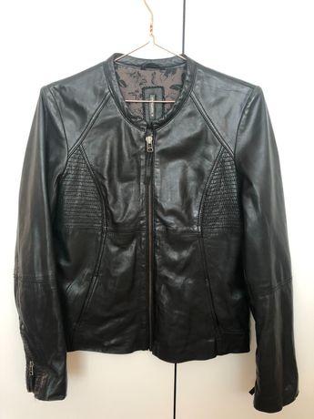 Biker jacket de pele preta Naf Naf