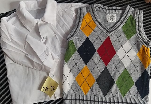 Komplet kamizelka + biała koszula 86-92