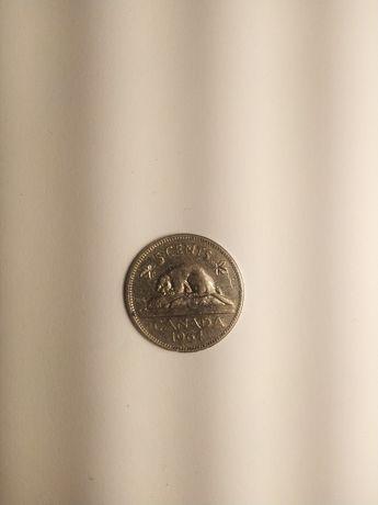 Moneta 5 centów 1964 r. Kanada.