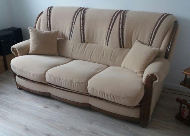 Sofa stylizowana z elementami dębowymi Okazja