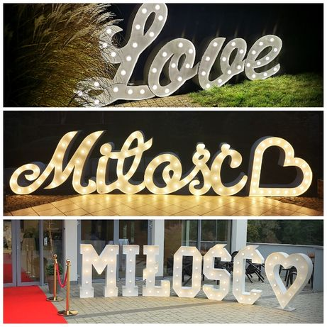 Napis Miłość Neon Love pisana led ażur 18 serce gigant Ścianka weselna