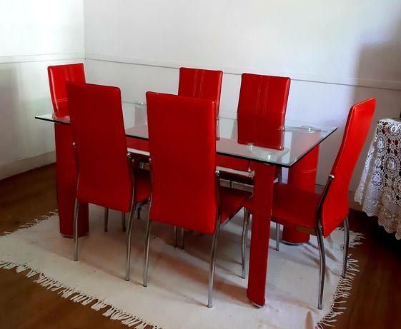 Mesa com vidro temperado, biselado e com 1 cm de espessura +6 cadeiras