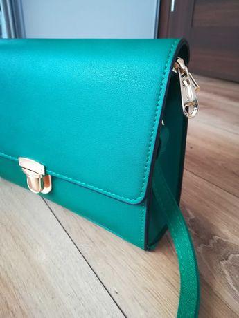 Nowa zielona torebka na pasku złoty suwak