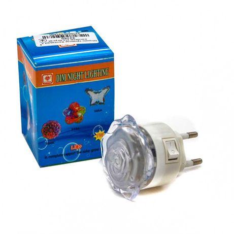 Светильник роза светодиодный в розетку LED ночник цветок детский