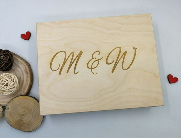 Drewniane pudełko na obrączki ślub wesele z grawerem