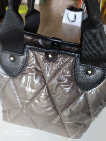 Deni Cler torebka pikowana stalowa połysk