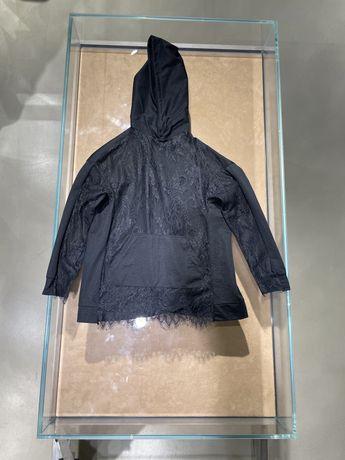 Детская черная кофта, свитшот с кружевом
