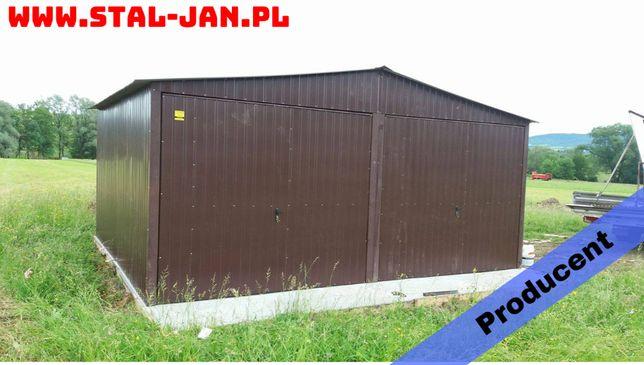 Garaż blaszany/blaszak 6x5 brązowy, dach dwuspadowy, małopolska