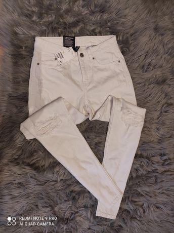 Rurki białe z dziurami spodnie h&m nowe