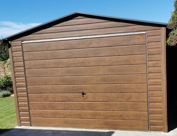 Garaż blaszany blacha orzech trapez poziomy PROFIL OCYNK