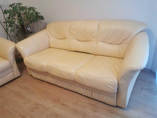 Komplet wypoczynkowy Swarzędz. Skóra. Sofa rozkładana + 2 fotele.