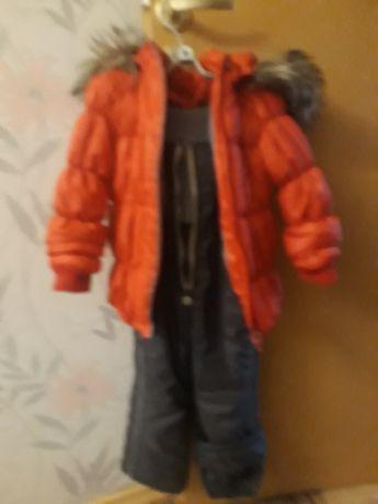 Костюм зимний (куртка и комбинезон). Штаны 98.Варежки флис,рукавички