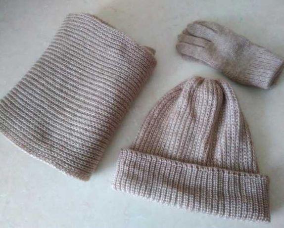 Распродажа! Комплект шапка, шарф, перчатки, шерсть + акрил
