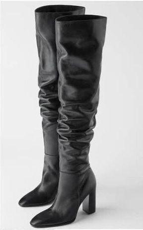 Кожаные сапоги ботфорты Zara р 39