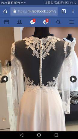 Suknia ślubna długi koronkowy rękaw dekold na plecach muślinowy dół 36