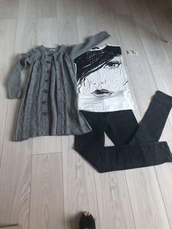 Zestaw ubrań spodnie bluzka sweter t-shirty mega paka