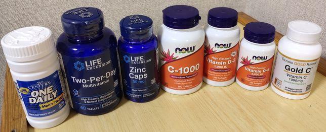 Витамины с iherb.D3,c-1000,Omega-3,Two-per-day,one daily,immune4,Zink