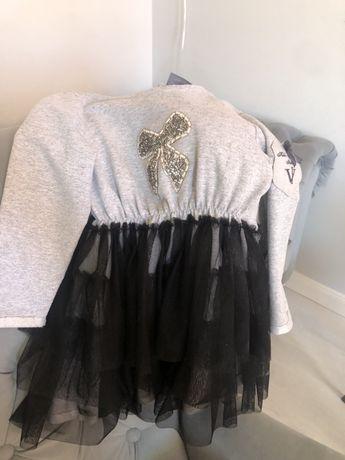 Sukienka typu tutu szaro czarna Kids by Voga Italia rozmiar 98-104