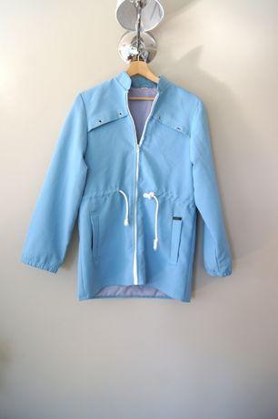 elegancka niebieska kurtka jesienna letnia na jesień długa błękitna 38