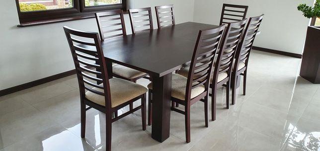 Stół z krzesłami 8 szt. (Stolik kawowy i duża donica gratis)