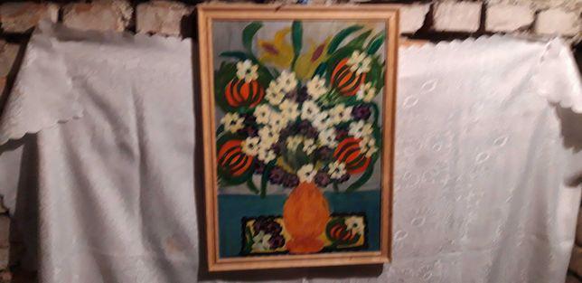 Stary obraz  ręcznie malowany farbą olejną