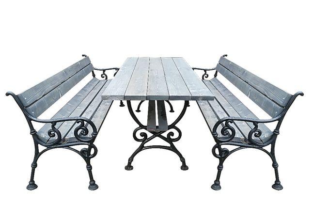 Zestaw ławka wiedeńska meble biesiadne ogrodowe żeliwne stół 175x75