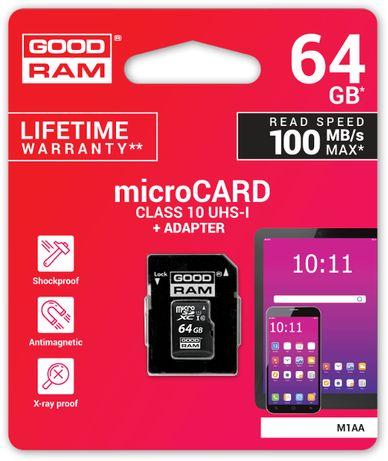 Karta Pamięci microSD Goodram UHS1 CL10 64GB + Adapter