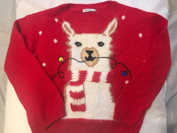 Święta sweterek z lamą 134 reserved idealny jak nowy