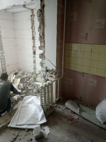 Демонтажные работы.Демонтаж стяжки, стен, штукатурки и пр.Вывоз мусора