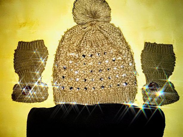 Komplet zimowy damski czapka szalik rekawiczki