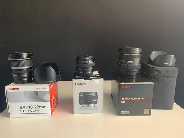 Conjunto de 3 Lentes Canon e Sigma para câmeras Canon