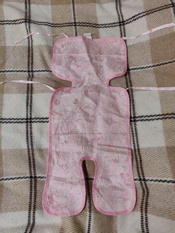 Матрас бамбуковый в коляску Yoya розовый