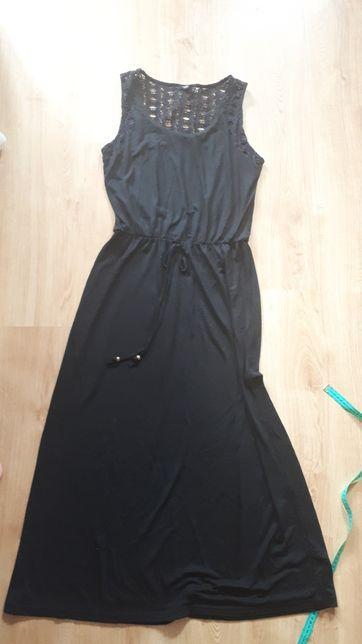 Sukienka maxi letnia czarna koronką M