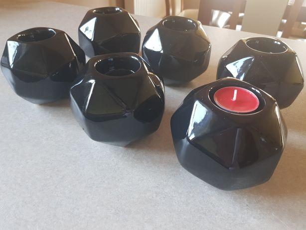 6 x świecznik czarny polysk